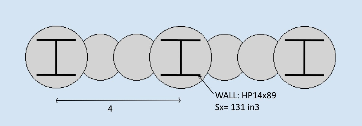 Secant Pile Wall Section with Double Unreinforced Piles