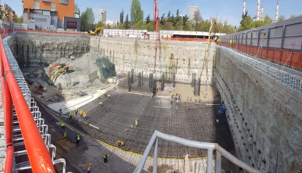 Five story deep excavation with a diaphragm wall for Downtown One, Tirana, Albania, designed with DeepEX