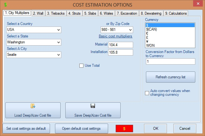 Cost estimation dialog for estimating deep excavation cost in Seattle