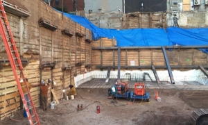 Soldier pile wall excavation in Manhattan for new highrise, courtesy of RA Consultants