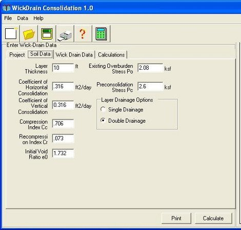 Wickdrains Program screenshot