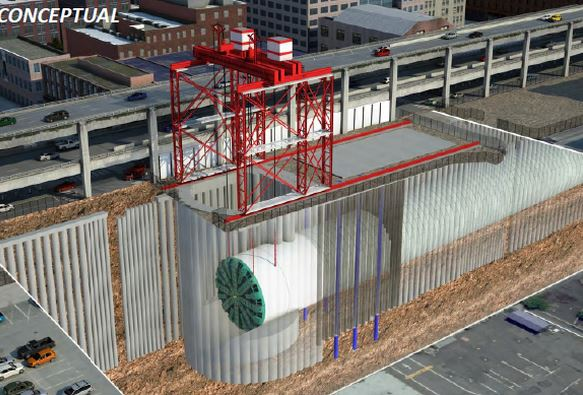Concept for removing Bertha with Circular shaft excavation