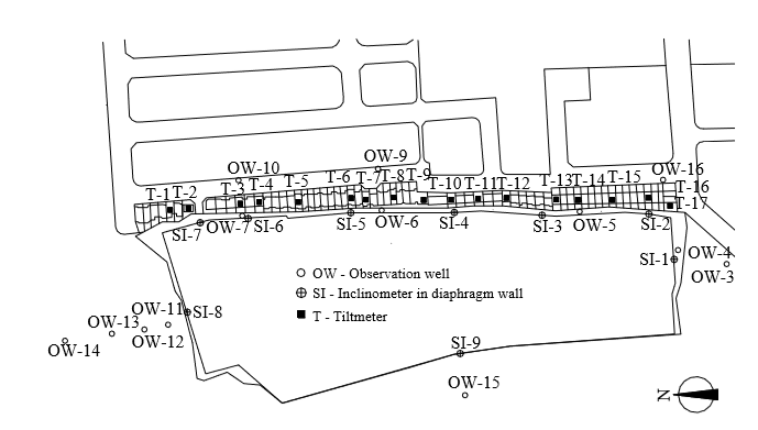 Diaphragm wall excavation plan in Taiwan with instrumentation