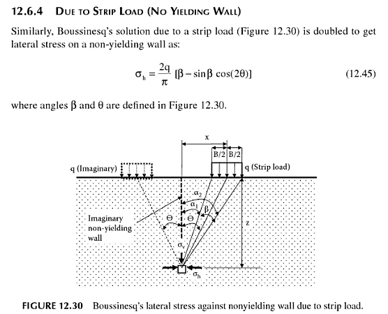 Strip loading with Boussinesq equations of elasticity