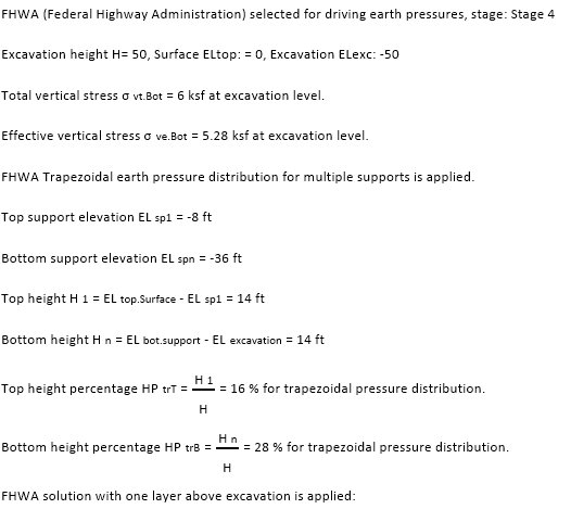 Apparent earth pressure calculations for FHWA method