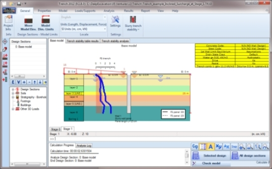 Trench 2012 - slurry wall stability - user interface and stability results