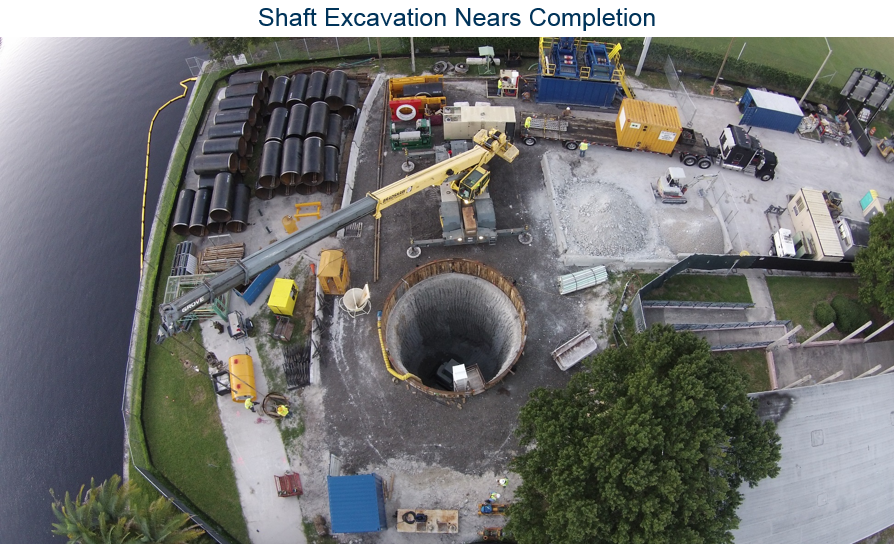 Wet soil mixing circular shaft wall in Tampa Florida by Hayward Baker designed with our deep excavation software DeepEX